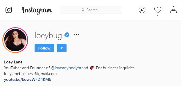 Instagram profile with short URL in bio.