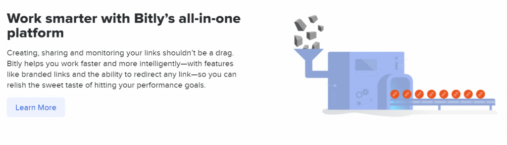 Bitly all-in-one platform homepage.