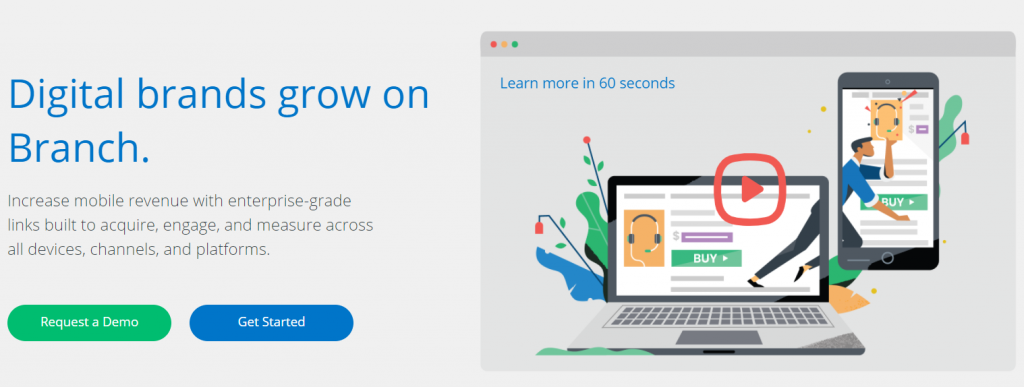 Branch.io digital brand URL shortener homepage.