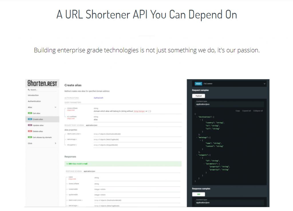 Shorten.REST link shortener API documentation.