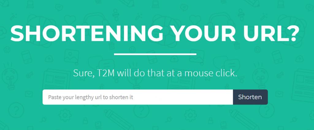 T2M URL shortener homepage.